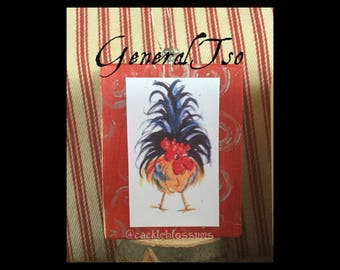Mini Art, GENERAL TSO,ready to ship, Rooster Art, Art Block, Ornament, Art Print