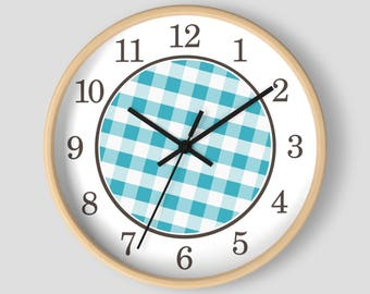 Turquoise Gingham Wall Clock - Pattern in Turquoise and White with Wood Frame - 10-inch Round Clock - Made to Order