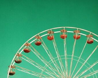 Carnival photography, ferris wheel in turquoise sky, dreamy nursery room decor, summer 6x10