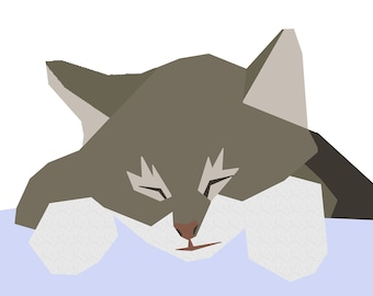 Sleeping tabby kitten paper-piecing quilt pattern, PDF
