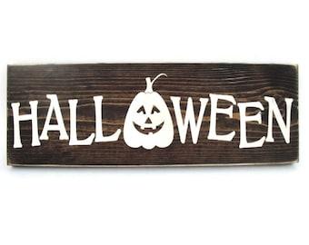 Halloween Sign Rustic Wood Wall Art Home Decor Door Hanger (#1202)