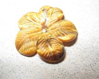Button Carved Tiger Eye Flower Shape Vintage Antique Sewing Buttons PR#133
