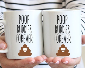 Best Friends Poop Buddies Coffee Mug - Poop Emoji - Best Friend Poop Mug - Funny Poop Mug - BFF Mug - BFF Coffee Mugs - Besties Mugs