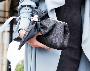 Black Bow Satin Lace Rhinestone Evening Clutch