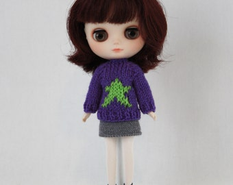 Middie Blythe doll Superstar Sweater knitting PATTERN - long and short sleeve sweater - instant download - permission to sell finished items