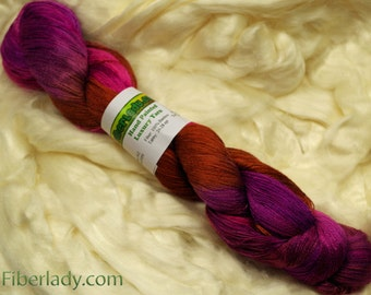 Hand painted Vivax Bamboo yarn, 4 oz, Chocolate Covered Cherries