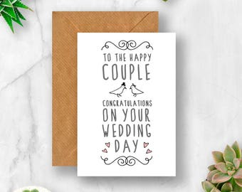 The Happy Couple Wedding Card, Wedding Card, Wedding Day Card, Card for Wedding, Congratulations Wedding, Getting Married Card, Wedding