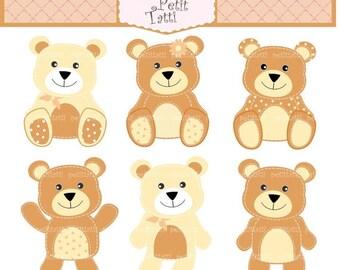 ON SALE bears clip art - digital clip art, Teddy bears 4, stitch teddy bear clip art, BrownTeddy bear, Instant download