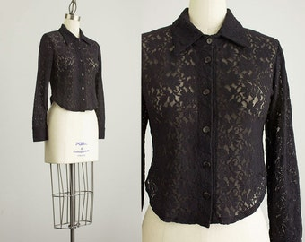 90s Vintage Black Sheer Stretch Lace Button Up Shirt / Size Small