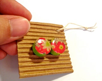 Cute Stud Earrings - Floral - Wooden Earrings - Faux Plugs - Colorful Graphic Prints