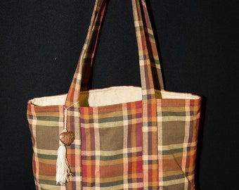 Reversible tote bag, eco friendly bag, up-cycled fabrics