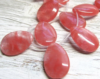 Quartz Beads 30 x 20mm Watermelon Pink Smooth Cherry Quartz Pendants - 4 pieces
