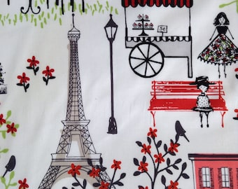SALE - One Half Yard of Fabric Material - Paris Collage