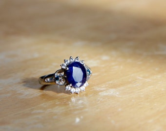 Blue Sapphire, Zircon, Blue Diamond Ring