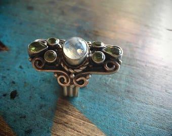 Moonstone Peridot Ring Goddess Jewelry, Gypsy Jewelry, Statement Ring, Shield Ring Amazing Gift