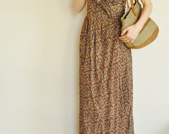 Prairie Calico Ruffled Maxi Dress M/L