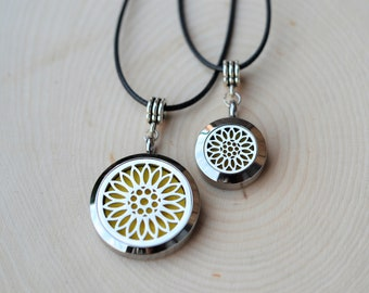Stainless Steel Essential Oil Diffuser Necklace//Sunflower// Aromatherapy Gift//2 ML Essential Oil Included(12 Variety)