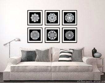 Modern Mandala Art Prints - Black and White Wall Art - Set of 6 12x12 Prints - Modern Medallion Wall Art - Home Decor - Living Room Wall Art