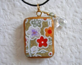 Cheerful Blooms Pendant - Japanese Washi Embellished Polymer Clay