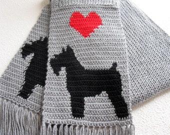 Miniature Schnauzer Scarf. Gray knit scarf with Schnauzer silhouette dogs. Knitted dog scarf. Schnauzer gift. Love my dog scarf