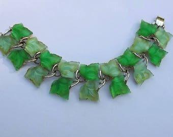 Vintage Plastic Leaves Bracelet Spring Garden Green Book Piece