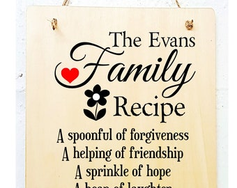 Personalised Family Recipe Kitchen Plaque.