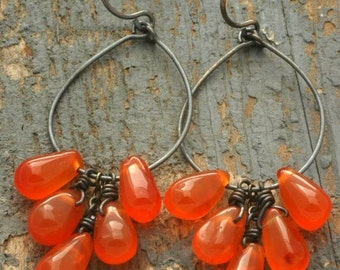 orange cluster hoop earrings. orange agate Stone drops on oxidized sterling silver by val b.
