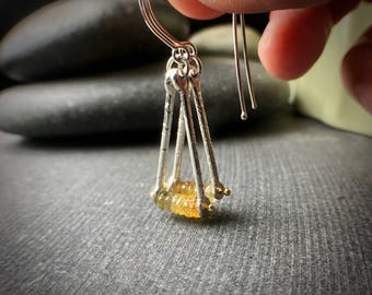 sterling silver briolette yellow sapphire ombre trapeze triangle dangle hook earrings