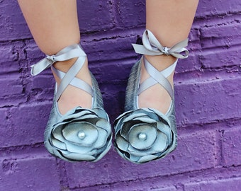 Grey Dupioni  Baby Shoes Ballerina Slippers