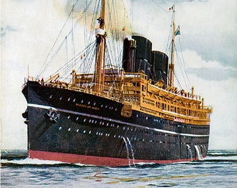 RMS Viceroy of India - reproduction print from vintage postcard