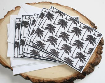 Palm Trees Card Set - Thank You Card Set - Greeting Card Set - Hello Cards - Encouragement Cards - Blank Card Set of 6