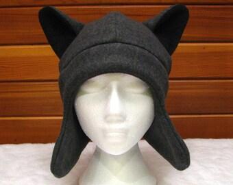 Gray Wolf Ear Hat - Dark Grey Fleece Animal Hat with Ear Flaps by Ningen Headwear