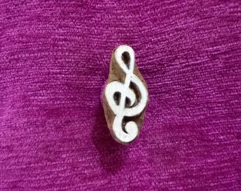 Treble Clef stamp hand carved wood printing block Textile Stamp, Pottery stamp wood printing block, fabric stamps