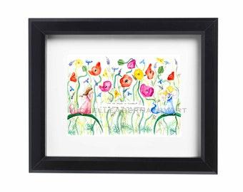 Fairy Children Floral Garden Watercolor Print
