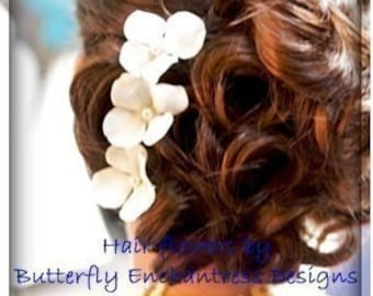 Wedding Hair Accessories, Bridal Hair Pins, Hair Flowers - 6 Pearl Ivory Hydrangea Bridal Hairpins