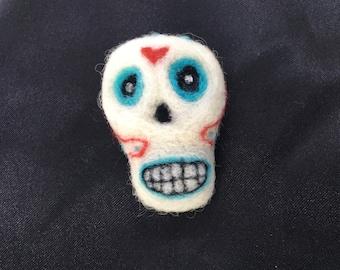 Needle Felted Sugar Skull Badge - Broach - Lapel Pin - Ooak