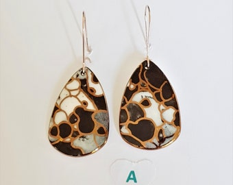 Black dangles porcelain and rose gold and gold earrings