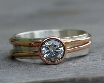 Moissanite Wedding Ring with Recycled 14k Rose Gold and Recycled Sterling Silver - Engagement or Right Hand Ring - Made to Order