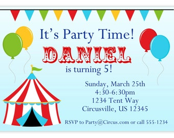 Circus Carnival Invitation - Red Big Top Tent, Balloons and Bunting Personalized Birthday Party Invite - a Digital Printable File