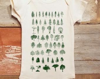 Baby Bodysuit - Tree Diagram - Screen Printed Organic Baby One-Piece