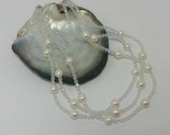 "Pearl Strands, Muli Strand Pearl Necklace, Moonstone & Pearl 3 Strand Necklace, 18"" Pearl and Moonstone Necklace, June Birthstones, #P728"