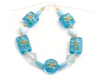 Lot (13) Vintage Czech floral overlay blue lampwork heart bicone glass beads 2421-138