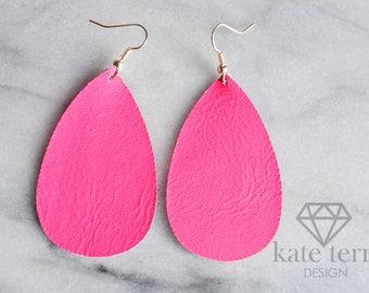 Neon Pink Leather teardrop earrings with gold hook