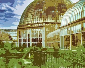 Vintage Style Belle Isle Conservatory Print   12x18