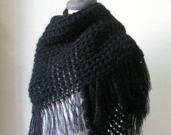 Black Crochet Shawl TRIANGLE Scarf Wrap Stole Handmade Gift winter fashion.