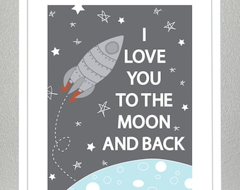 Kids wall art, Love you to the moon and back- 8x10
