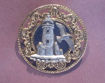 Lighthouse with Seagull Brooch - Two plate finish - Antique Silver with Antique Gold - BZ Designs Original