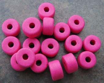 Greek Ceramic Beads Fuchsia Short Barrel Beads 8x5mm (15)