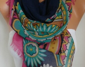 Black & Fuchsia Floral Cotton Scarf,Shawl,Cowl Oversize Wrap Pareo Bridesmaid Gift Gift Ideas For Her Women Fashion Accessories Scarves
