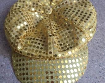 1970s Disco cap, vintage  gold sequins.